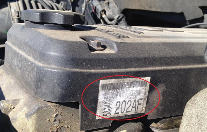 Valve cover reference number location